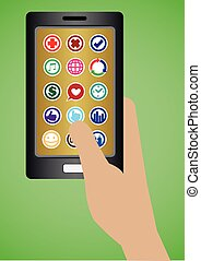 Hand Holding Mobile Phone with Round Apps Icons - Vector...