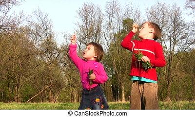 children with dandelion