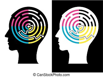 Head silhouette with Labyrinth of