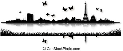 Black and White Paris Skyline Silhouette Butterfly...