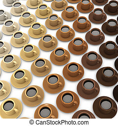 3d Range of coffee cups - 3d render of an array of coffee...