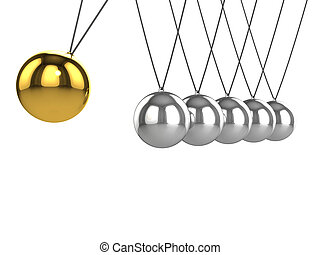 3d Newtons Cradle with gold ball - 3d render of a Newtons...