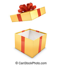 3d Gold gift box opens - 3d render of a gold and red gift...