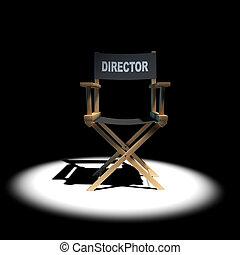 3d Directors chair in spotlight - 3d render of a directors...