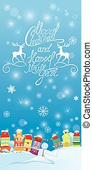 Winter holidays card with houses, Handwritten text Merry Christm