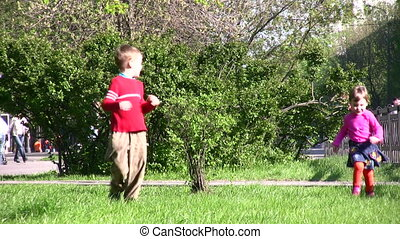 running children in park