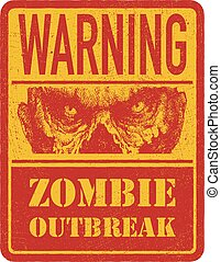 Zombie Warning sign Hand drawn Vector illustration eps8 -...