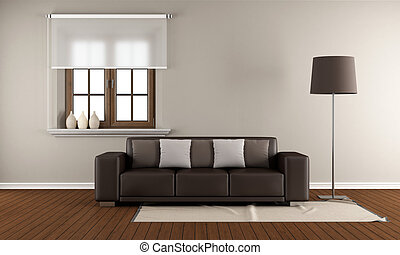 Modern Living room with wooden window and brown sofa on...