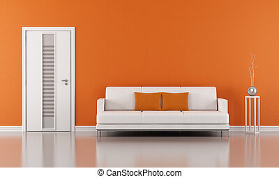 Orange living room with white door and modern sofa - 3D...