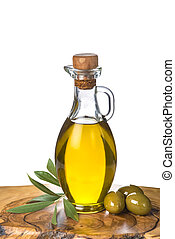 Extra olive oil bottle and green olives on white background...