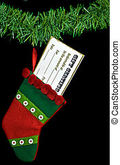 Stocking Stuffer - Gift certificate in a holiday stocking.