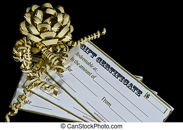 Christmas Certificates - Gold bow and ribbons on gift...