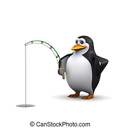 3d Penguin does some ice fishing - 3d render of a penguin...
