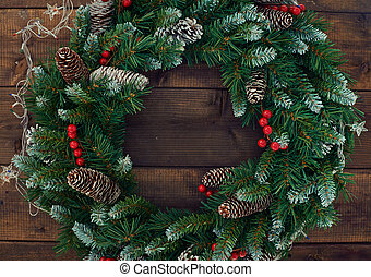 Conifer wreath - Christmas conifer wreath with firtree...