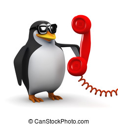 3d Penguin makes a phone call - 3d render of a penguin...