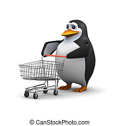 3d Penguin with a shopping trolley - 3d render of a penguin...
