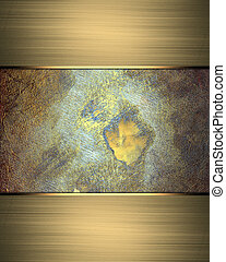 Old metal background with gold ribbon on the edges Design...
