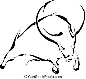 Black silhouette of a bull in a jump isolated on white backgroun