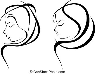 Vector silhouettes of woman hairstyles