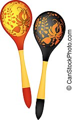 Two wooden spoons in the Russian national style. Vector illustra