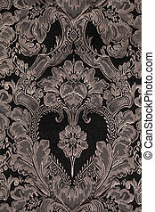 brown vintage fabric with damask pattern as background,...
