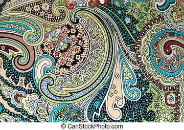 colorful vintage fabric with blue and brown paisley print,...