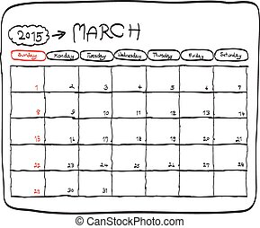 march 2015 planning calendar vector, doodles hand drawn. -...