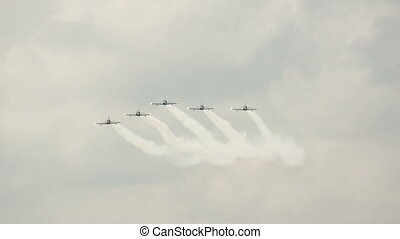 group of jet fighter fly in sky