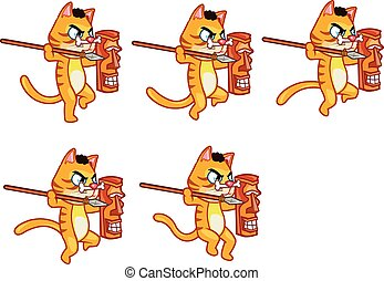 Cannibal Cat Jumping Sprite - Set of Vector Illustration of...