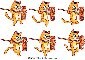 Cannibal Cat Running Sprite - Set of Vector Illustration of...