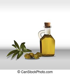 Olive oil and branch vector illustration