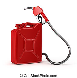Gas pump nozzle and jerrycan on whi