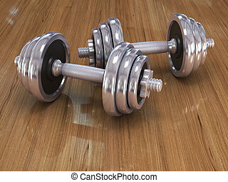 Fitness exercise equipment dumbbell weights on white...