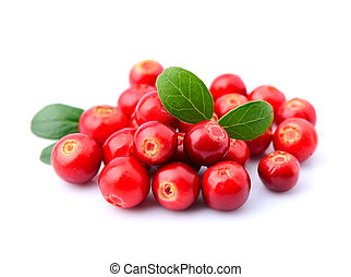 Cranberries with leaves close up on white background