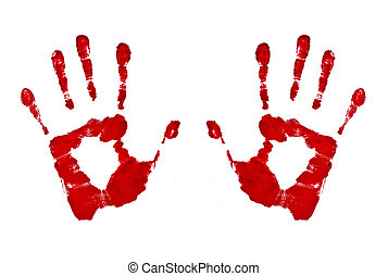 bloody hand prints isolated on white background