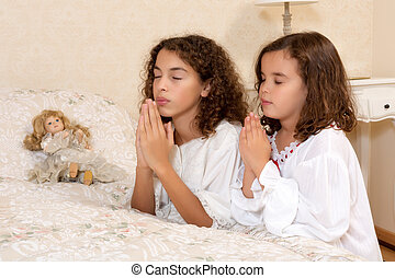 Victorian girls praying - Adorable victorian girls kneeling...