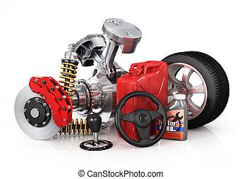 Set of parts of car. 3d render. - Set of parts of car. 3d...