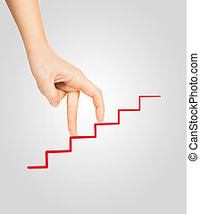 hand goes on to draw a red ladder