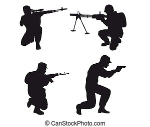 Four soldiers silhouettes - Vector illustration of a four...