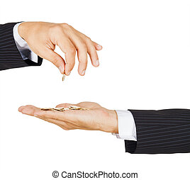 Cropped view of a male hand giving a euro coin to another person