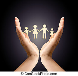 Family in palm concept