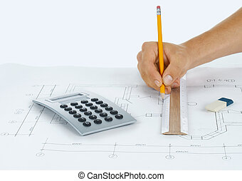 Architect rolls and plansarchitectural plan,technical...