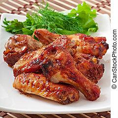 ASSADO, galinha, asas,