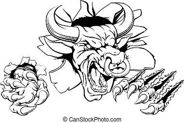 Bull breaking through wall