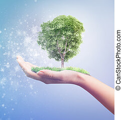 Eco concept Magic hand of nature holding tree