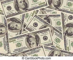 Seamless background from 100 dollar banknotes. Vector...