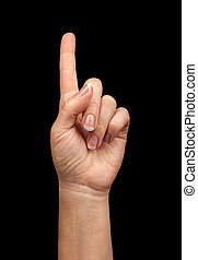 pointing gesture of the hand on a black background