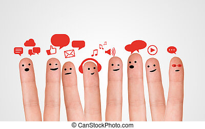 Happy group of finger smileys with social chat sign and...