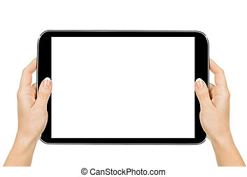 female hands holding a tablet touch computer gadget with...