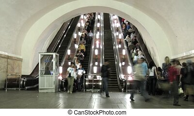 subway escalator time lapse - The escalator in subway, time...